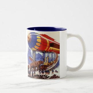 ヴィンテージの空想科学小説、ノアの箱舟の野生動物 ツートーンマグカップ