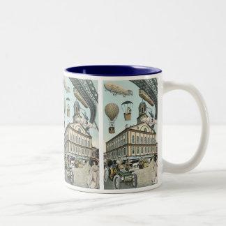 ヴィンテージの空想科学小説、ビクトリアンな蒸気のパンク都市 ツートーンマグカップ