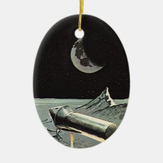 ヴィンテージの空想科学小説、ロケットは月の惑星を出荷します セラミックオーナメント