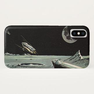 ヴィンテージの空想科学小説、ロケットは月の惑星を出荷します iPhone X ケース