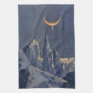 ヴィンテージの空想科学小説、三日月形の月の雪の惑星 キッチンタオル