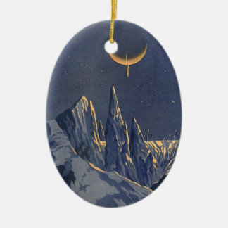 ヴィンテージの空想科学小説、三日月形の月の雪の惑星 セラミックオーナメント