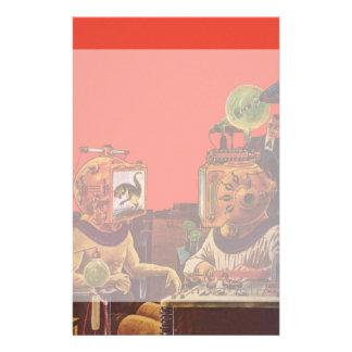 ヴィンテージの空想科学小説、外国の蒸気のパンクのヘルメット 便箋