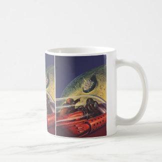 ヴィンテージの空想科学小説、月の未来派都市 コーヒーマグカップ