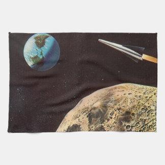 ヴィンテージの空想科学小説、月上のロケットの船 キッチンタオル