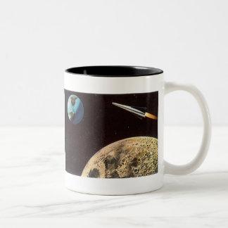 ヴィンテージの空想科学小説、月上のロケットの船 ツートーンマグカップ