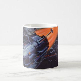 ヴィンテージの空想科学小説、発破を掛けている月ロケット コーヒーマグカップ