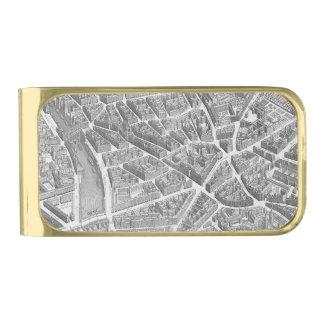 ヴィンテージの空気のパリの地図 ゴールド マネークリップ