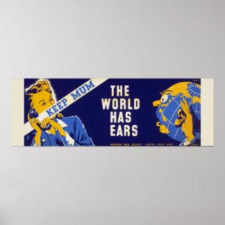 ヴィンテージの第二次世界大戦は ポスターの警告を調査します ポスター