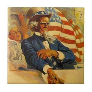ヴィンテージの米国市民海軍海軍少尉候補生の愛国心が強いタイル タイル