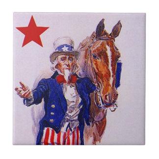 ヴィンテージの米国市民軍隊の騎兵隊馬の愛国者のタイル タイル
