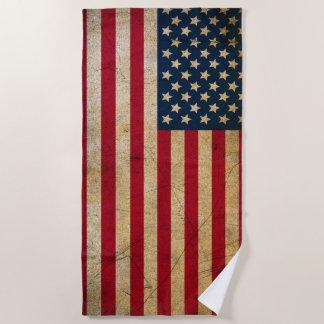 ヴィンテージの米国旗のビーチタオル ビーチタオル