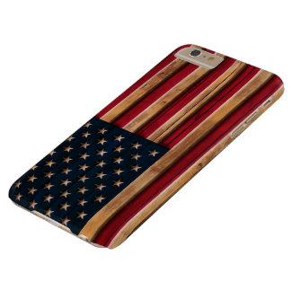 ヴィンテージの米国旗の動揺してな木製の一見 BARELY THERE iPhone 6 PLUS ケース
