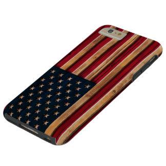ヴィンテージの米国旗の動揺してな木製の一見 TOUGH iPhone 6 PLUS ケース