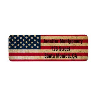 ヴィンテージの米国旗の差出人住所ラベル ラベル