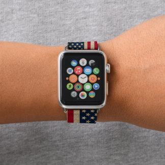 ヴィンテージの米国旗のAppleの腕時計の革バンド Apple Watchバンド