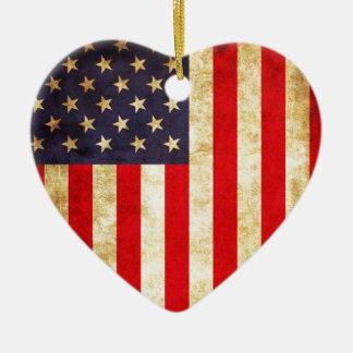 ヴィンテージの米国旗 セラミックオーナメント