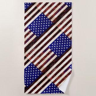 ヴィンテージの米国旗 ビーチタオル