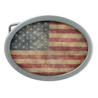 ヴィンテージの米国旗 卵形バックル