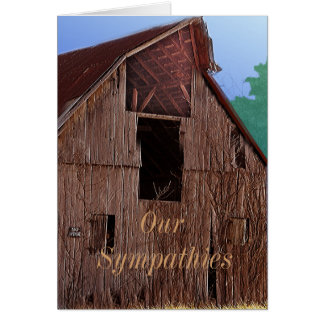 ヴィンテージの納屋の悔やみや弔慰のカードか引き起こります カード