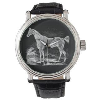 ヴィンテージの純血種の馬の乗馬の名前入り 腕時計