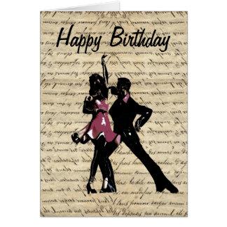 ヴィンテージの紙の社交ダンスのダンサー グリーティングカード
