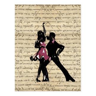 ヴィンテージの紙の社交ダンスのダンサー ポストカード