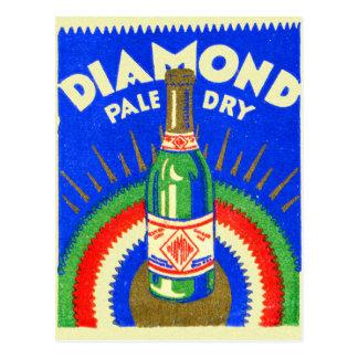 ヴィンテージの紙マッチのダイヤモンドの淡い色のな乾燥したジンジャーエール ポストカード