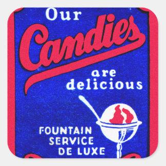 ヴィンテージの紙マッチ私達のキャンデーのアイスクリームの噴水 スクエアシール