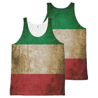 ヴィンテージの素朴でイタリアンな旗 オールオーバープリントタンクトップ