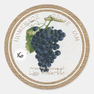 ヴィンテージの素朴なブドウの込み合いの円形のステッカーのラベル ラウンドシール