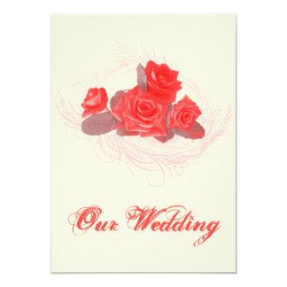 ヴィンテージの素朴な赤いバラの結婚式招待状 カード