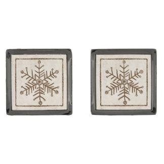 ヴィンテージの素朴な雪片 ガンメタル カフスボタン