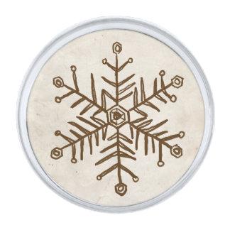 ヴィンテージの素朴な雪片 銀色 ラペルピン