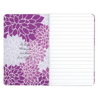 ヴィンテージの紫色および白い花ジャーナル ポケットジャーナル