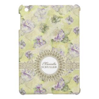 ヴィンテージの紫色のアジサイのフランスのな壁紙の花柄 iPad MINI カバー