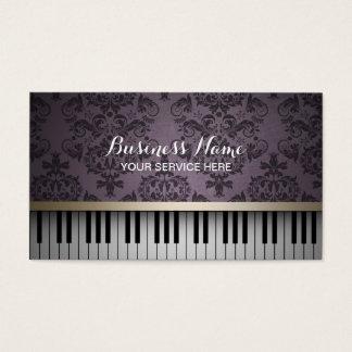 ヴィンテージの紫色のダマスク織パターン及びピアノ鍵音楽 名刺