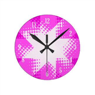 ヴィンテージの紫色のハーフトーンの星 ラウンド壁時計