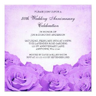 ヴィンテージの紫色のバラ第50の結婚記念日 カード