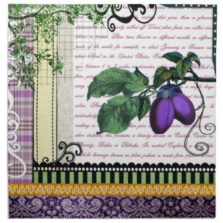 ヴィンテージの紫色のプラムフルーツの芸術のナプキン ナプキンクロス