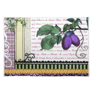 ヴィンテージの紫色のプラムフルーツの芸術の台所ランチョンマット ランチョンマット