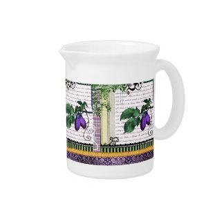ヴィンテージの紫色のプラムフルーツの芸術の水差しの水差し ピッチャー