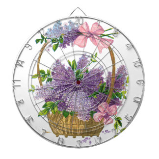 ヴィンテージの紫色のライラックの旧式な花の花束 ダーツボード