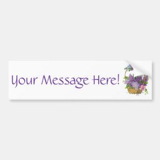 ヴィンテージの紫色のライラックの旧式な花の花束 バンパーステッカー