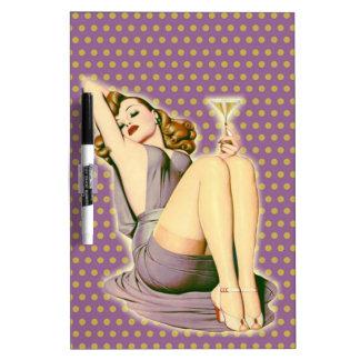 ヴィンテージの紫色の水玉模様のレトロのピンナップの女の子 ホワイトボード