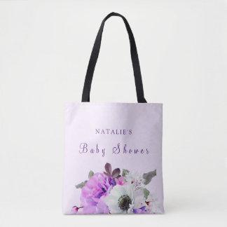 ヴィンテージの紫色の白い花のベビーシャワーのトートバック トートバッグ