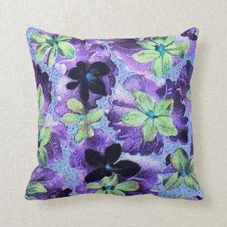 ヴィンテージの紫色の緑のバイオレットの枕 クッション