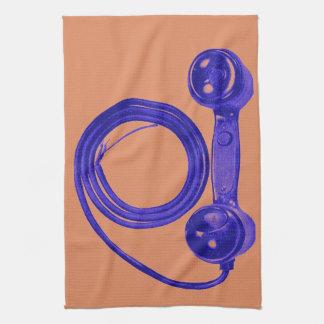 ヴィンテージの紫色の電話受信機 ハンドタオル