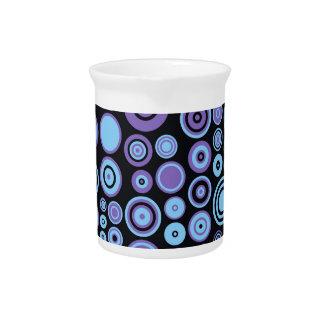 ヴィンテージの紫色の青および黒い五十年代の抽象美術 ピッチャー