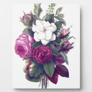 ヴィンテージの紫色及び白い花花束 フォトプラーク